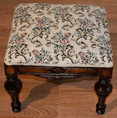 19th Century Antique Victorian Eastlake Walnut footstool , New Upholstery