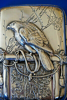 Unusual Silver Chinese or Japanese Card Cigarette Case FALCON & DRAGON Falconry