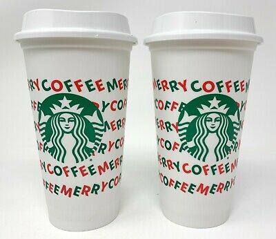 Starbucks 2019 Holiday Reusable White Cup Grande 16oz Merry Coffee 2 Pack