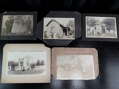 Family House Children Antique Vintage Cabinet Card Photographs Lot of 5