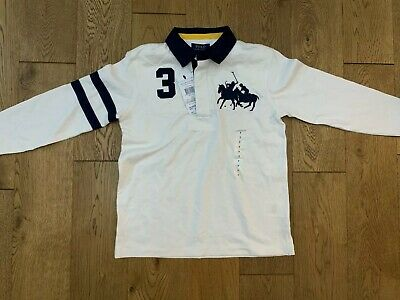 Bnwt Boys Polo Ralph Lauren Long Sleeve White Rugby Shirt Top Age 6-7 Years