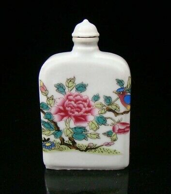 Collectible 100% Handmade Painting Porcelain Snuff Bottle Flower and bird 27