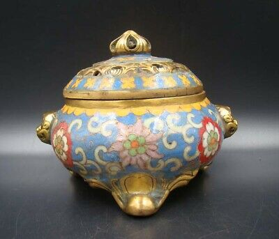 Collectible Handmade Carving Brass Cloisonne Enamel Incense Burners