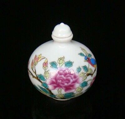 Collectible 100% Handmade Painting Porcelain Snuff Bottles Flower Bird 12