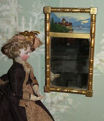 Sale~Rare Antique Miniature Gilded French Fashion Doll Mirror W/Reverse Painting