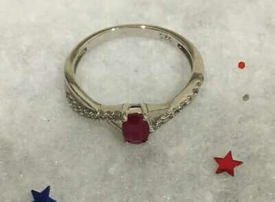 Vintage, Sterling Silver Ring ~ Genuine Ruby with White Topaz Accents. NOS