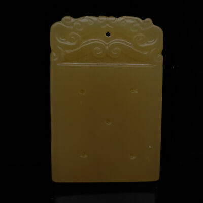 Antique Chinese Old Hetian Jade Carved pattern Pendant      S611