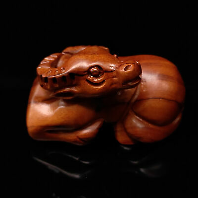 Old Chinese Hand-carved Wooden All Cattle Statue       S578