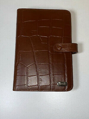Piquadro Moc Croc Brown Leather Day Planner Organier With Inserts
