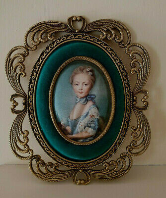 Brass, velvet and Silk Wall Hanging / plaque. Victorian Era Lady depicted.