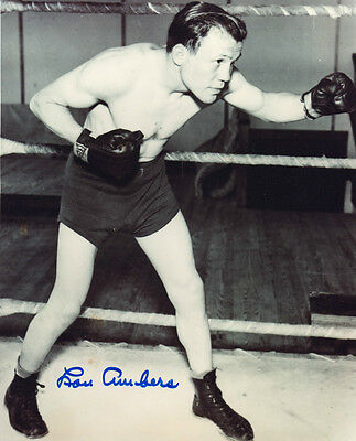 LOU AMBERS Signed 10x8 Photo Lightweight WORLD CHAMPION BOXER COA