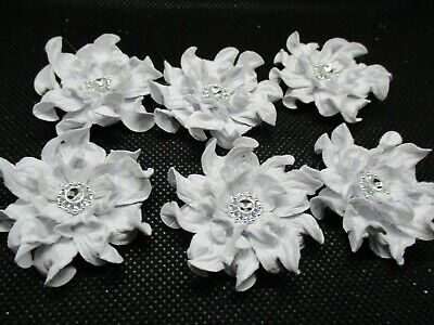 6 Handmade White Paper Flower Die Cuts........cardmaking