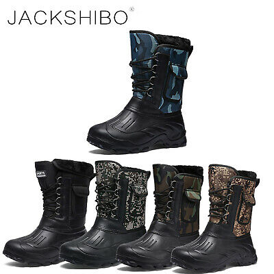 Mens Winter Snow Boots Ankle Fur Lined Warm Shoes Outdoor lace up Waterproof