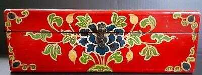Large Antique 19th Century Red With Floral Designs Wooden Case