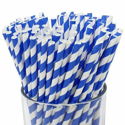 1000 X Blue And White Retro Striped Paper Straws Biodegradable Compostable UK