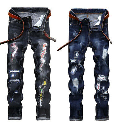 Men Ripped Skinny Jeans Destroyed Frayed Slim Fit Tapered Leg Denim Pant Trouser