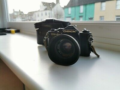 Chinon CM-4S 35mm SLR with fast prime 50mm lens +case