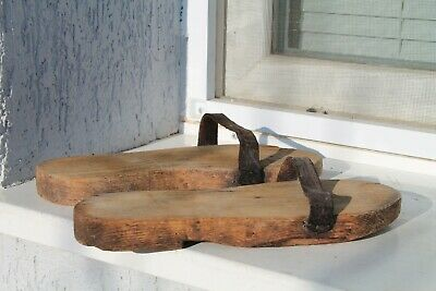 Antique Primitive Old Men Prison Wooden Wood Shoes 20Century