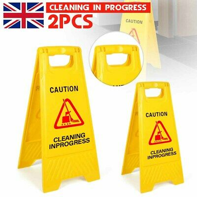 2X CAUTION WET FLOOR Sign Cleaning in Progress Yellow Warning Cone Safety Hazard