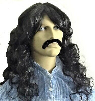 Pirate Style Long Black Wavy Fancy Dress Wig & Self Adhesive Droop Moustache