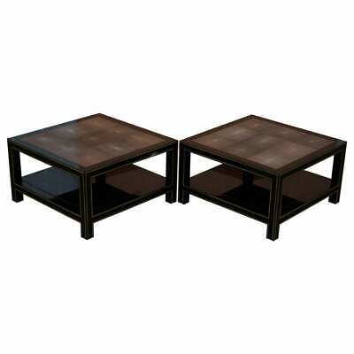Pair Of Rrp £18,000 Original Shagreen Gilt Metal Large Side Coffee End Tables