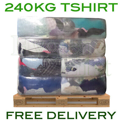 240kg Bulk Pallet Of Cotton T-Shirt Cloths Rags Wipers Wiping Cleaning Polishing
