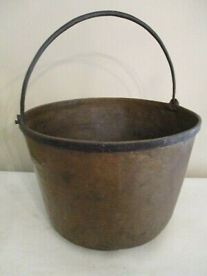 antique bucket hand forged large brass pail primitive circa 1850 americana