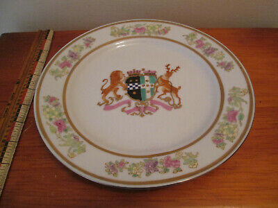 "Large Antique Chinese Export Armorial Porcelain 10"" Plate Heavy - No damage"
