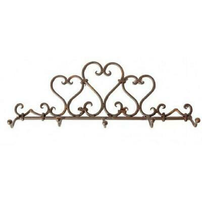 Rustic Ornate Heart 5 Hook Wall Mounted Coat Hat Towel Rack Hanger Robe Holder