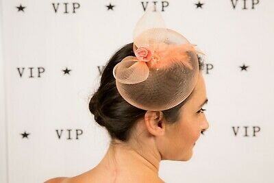 Coral peach satin rose tulle feather beaded fascinator clip / brooch
