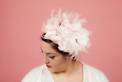 Pale baby pink silk feathered flower fascinator comb Wedding Races Occasion wear