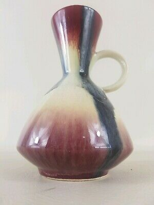 Mid century German ceramic vase one handle red black cream 1004/14 pottery