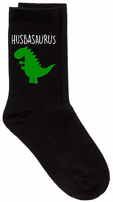 Mens Husband Dinosaur Husbasaurus Valentines Day Christmas Present Black Socks G