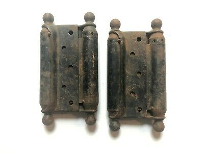 Pr Double Swing Ball Top Spring Hinges Cast Iron Architectural Hardware Antique