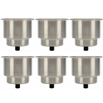 6pcs of Stainless Steel Cup Drink Holder with Drain for Marine Boat RV Camper CA