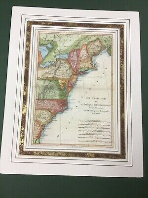 1788 Rare Handcolored Map Of U.S. Eastern Seaboard U.S.By Rigobert Boone
