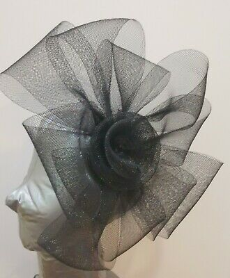 black fascinator millinery burlesque headband wedding hat hair piece
