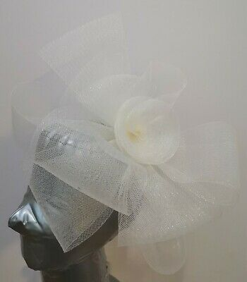 ivory off white fascinator millinery burlesque headband wedding hat hair piece