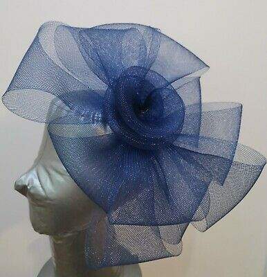 navy blue fascinator millinery burlesque headband wedding hat hair piece