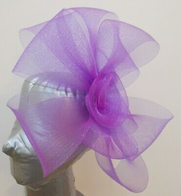 purple fascinator millinery burlesque headband wedding hat hair piece