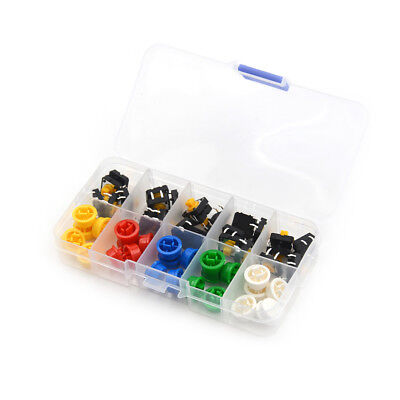 25Set Momentary Tactile Push Button Touch Micro Switch 4P PCB Cap 12x12x7.3mm&LD