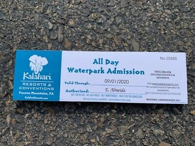 1 - 7 Kalahari Resorts All Day Waterpark Passes Pocono Mountains Tickets