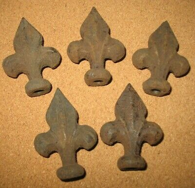 Set of 5 Vintage Cast Iron Fleur de Lis Topper Finial threaded