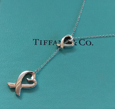 Tiffany & Co Sterling Silver Paloma Picasso Loving Heart Lariat Pendant Necklace