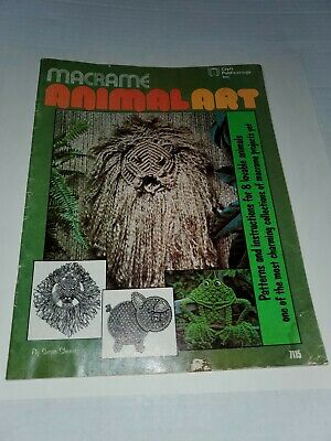Macrame Animal Art  8 Patterns Vintage 1976 Craft Publications Pattern Book