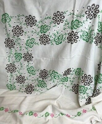 Vtg Handmade Embroidery Cross Stitch Tablecloth 76 x 56 Floral Green Pink Brown