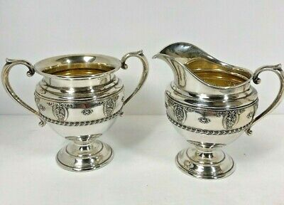Wallace Antique Sterling Silver Embossed Roses Sugar Bowl & Creamer Set #4640-9