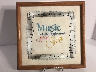 Completed Cross Stitch Music Theme