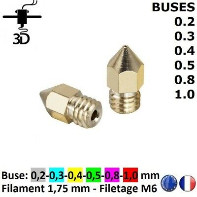 ANYCUBIC Buse 0.2/0.3/0.4/0.5/0.8/1.0 mm Nozzle Extrudeuse MK8,MK7 Imprimante 3D