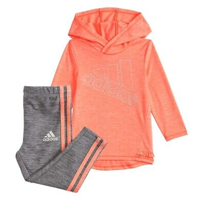 New Adidas Girls Logo Hooded Tunic & Print Leggings Set Size 4 and 6 MSRP $48.00